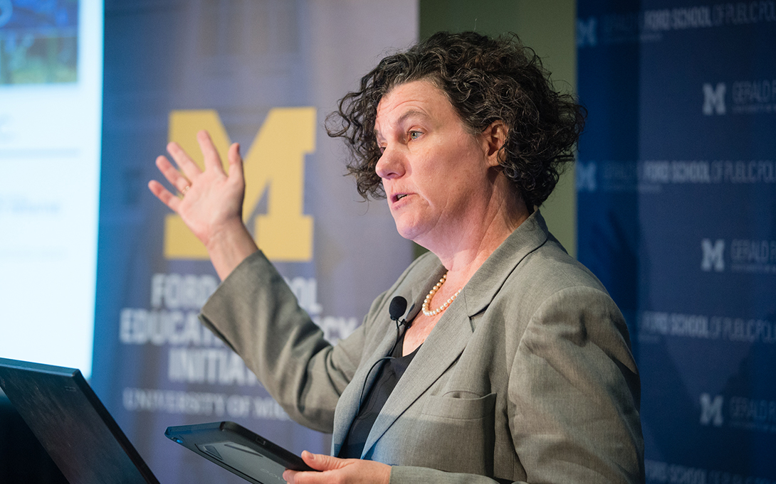 Susan Dynarski presents at a conference