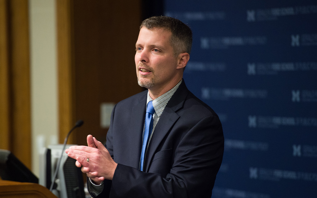 Luke Shaefer delivers a talk at the Ford School