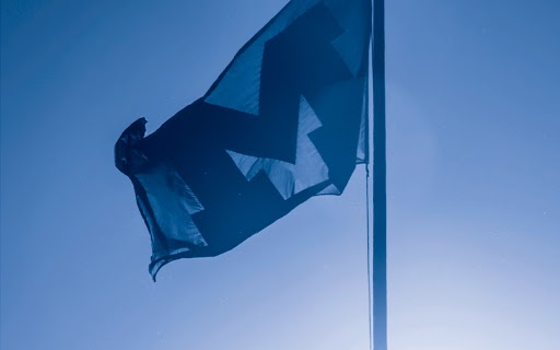 Photo of a Michigan flag, hued blue