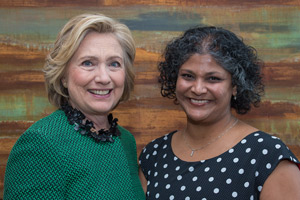 Photo of Bulbul Gupta (MPP '01) and Hillary Clinton