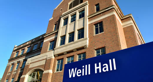 Photo of Weill Hall and building signage from north entrance