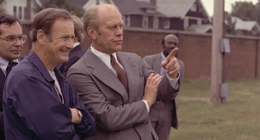 U-M Football Coach Bo Schembechler and President Gerald R. Ford