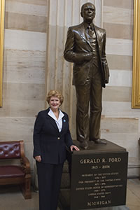 Photo of Sen. Debbie Stabenow earns top prize in President Ford button contest image
