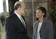 Susan M. Collins chairs first day of annual Federal Reserve conference, introduces Chairman Bernanke image