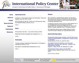 International Policy Center reenergizes, reorganizes website image