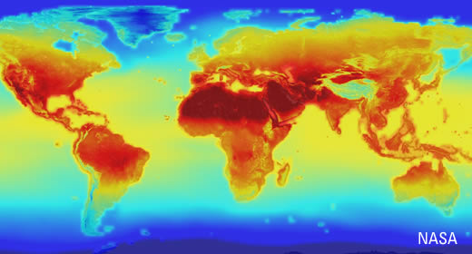 Heat map depicting global warming. Credit: NASA