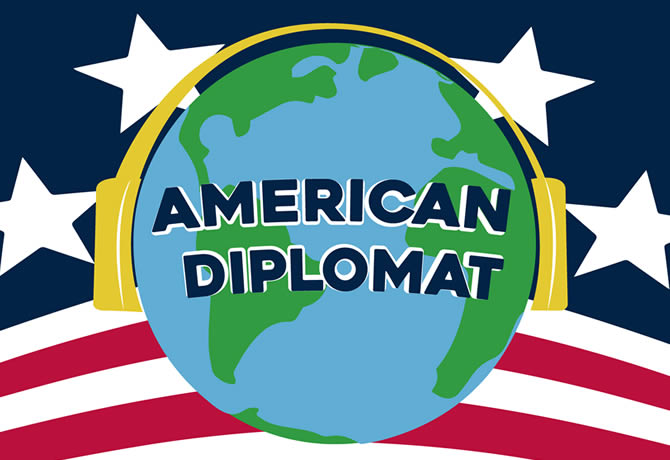 American Diplomat podcast cover art, featuring an American flag themed background and an Earth globe with headphones in the foreground