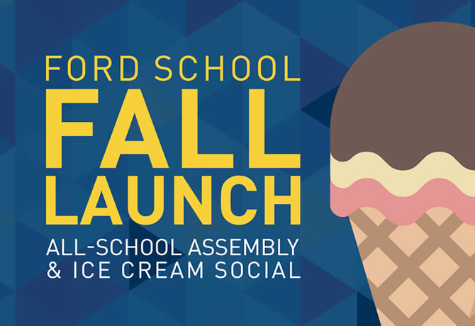 """Text: """"Ford School fall launch all school assembly and ice cream social"""" Image of a Neapolitan ice cream cone"""
