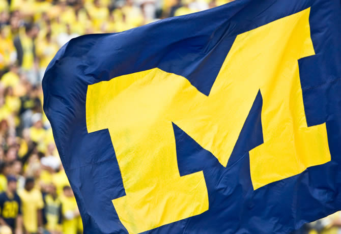 Photo of U-M flag at Michigan Stadium