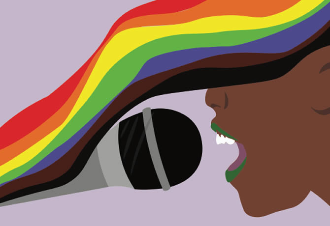 Illustration of a human face with brown skin and rainbow hair speaking into a microphone