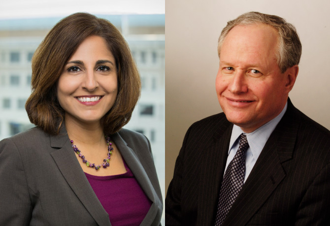 Photos of Neera Tanden and William Kristol
