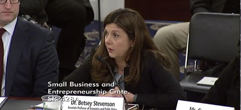 Link to:Betsey Stevenson: Senate Small Business Committee hearing testimony