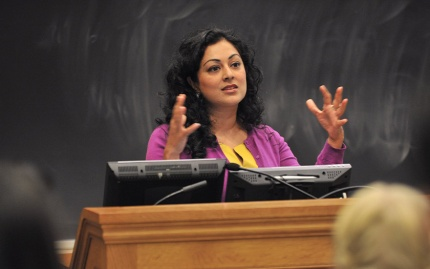 Professor Shobita Parthasarathy leads a discussion in the Betty Ford Classroom