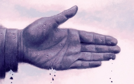 Illustration of a hand, extended for a handshake, crumbling.