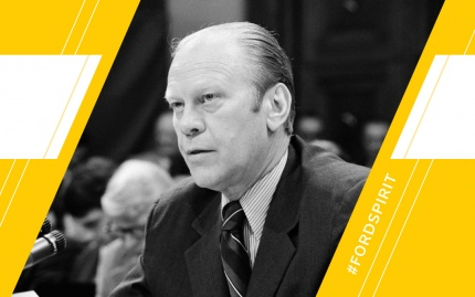 Spirit Day graphic featuring a photo of President Ford over a styled white and maize background