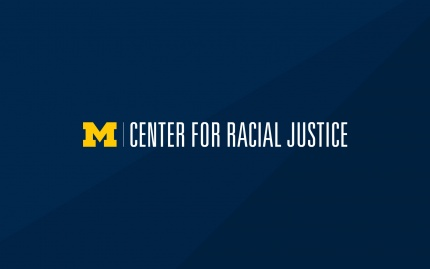 Center for Racial Justice informal logo in maize and white placed on a blue background