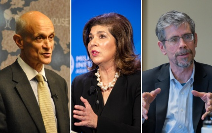 Speaking photos of Michael Chertoff, Farah Pandith, and Eric Schmitt