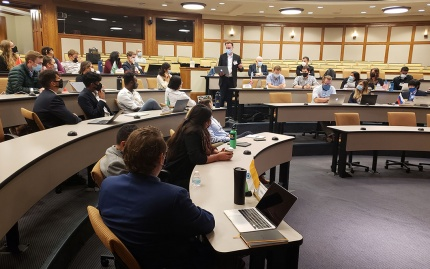 Photo of students seated in Annenberg Auditorium for the US Army War College simulation