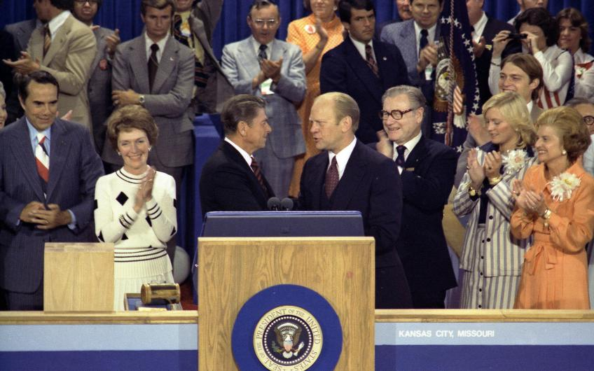 Primary loser and California Governor Ronald Reagan and incumbent President Gerald R. Ford at the Republican National Convention