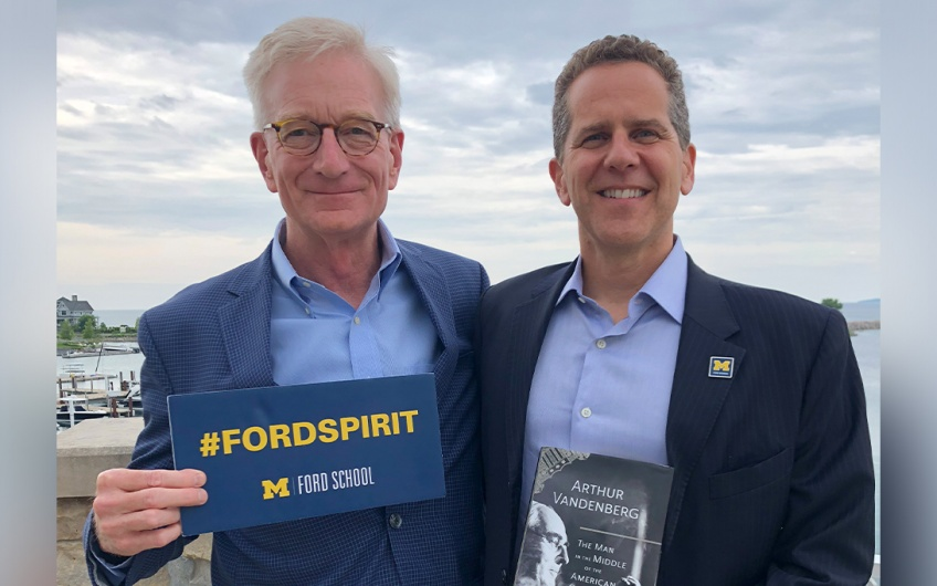 Hank Meijer and Dean Michael Barr in Petoskey, Michigan on Worldwide Ford School Spirit Day