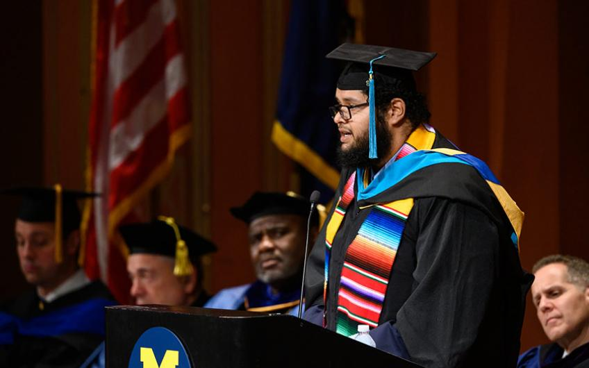 Elected student speaker Jose Lujano addresses the graduating classes of 2019