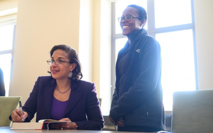 Ambassador Susan Rice with a Ford School student