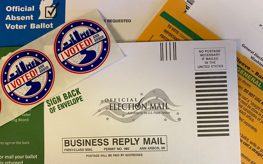 Ann Arbor absentee ballot package (no ballot shown)