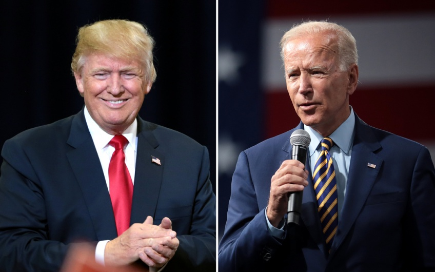 Side by side photos of Donald Trump and Joe Biden