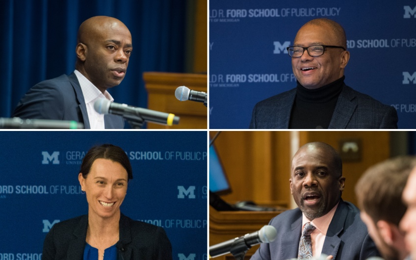 A 4up grid of photos of Dudley Benoit, Broderick Johnson, Annie Maxwell, and Hardy Vieux at Ford School events