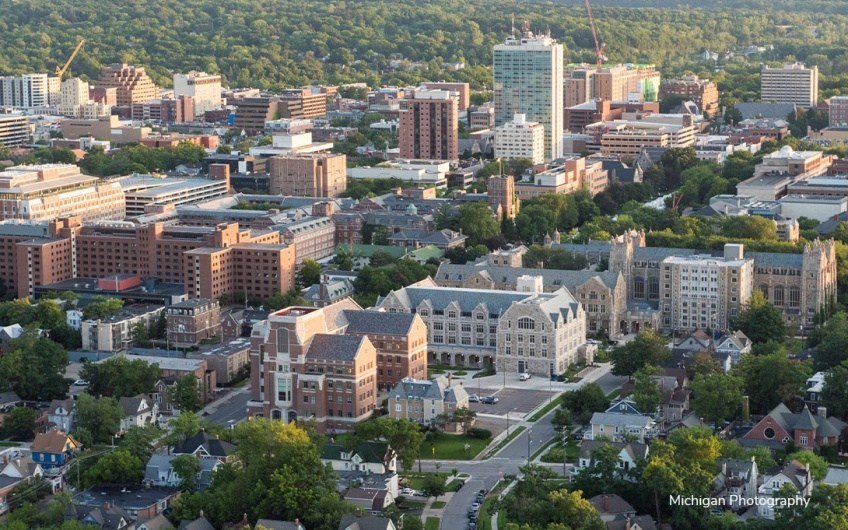 Aerial of U-M central campus including Weill Hall