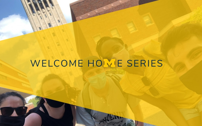 Welcome home series graphic with a photo of students and a Block M