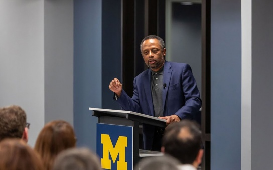 Earl Lewis delivers remarks at a U-M History Department event