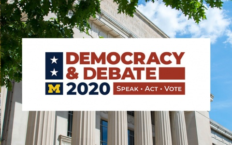 Democracy and debate logo on top of a photo of Angell Hall
