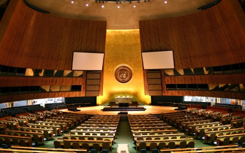 An empty UN General Assembly hall