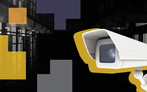 Creative art for the carceral state conference, featuring a surveillance camera and stylized broken shapes in front of an old prison cellblock
