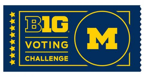 Big Ten Voting Challenge logo featuring Block M